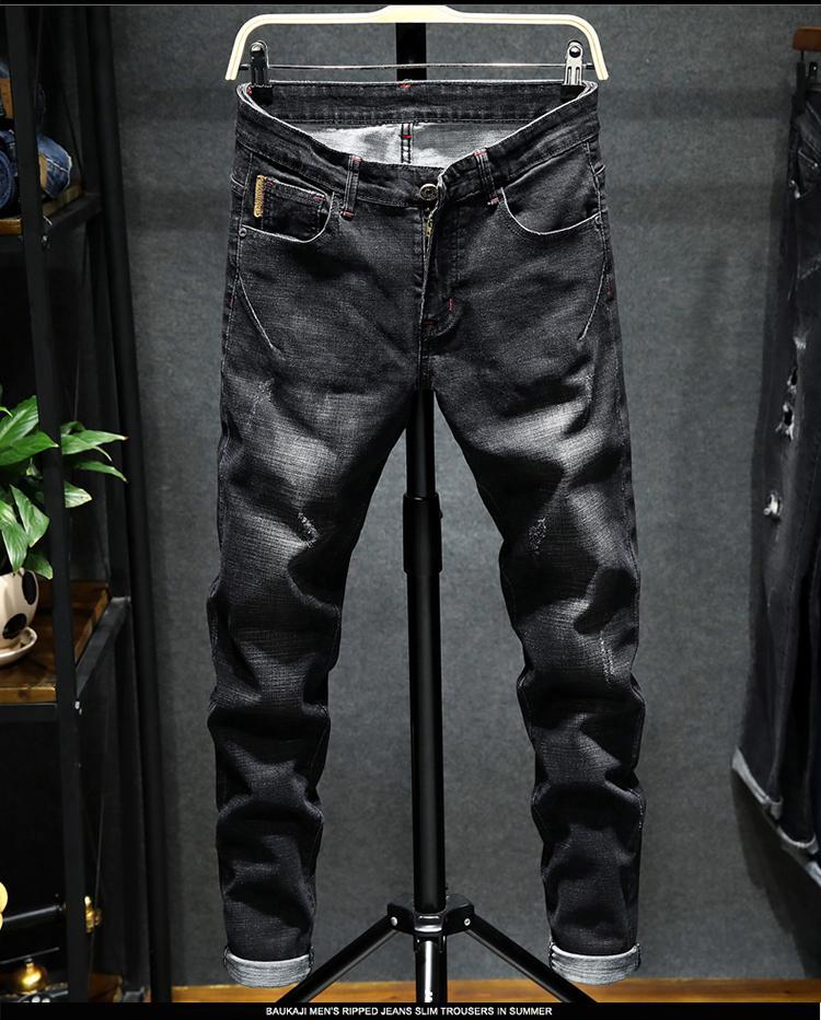 Nero Jeans Maschio suolo tipo di piede dritto coltiva il suo mostrare il sottile giovane Han marea maschio pantaloni lunghi