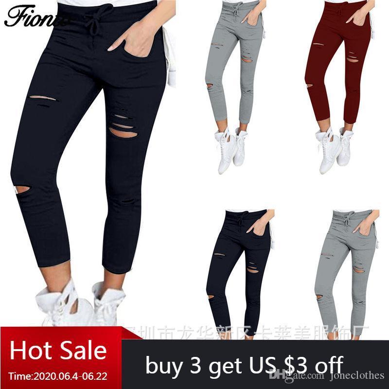 Fionto Nouveau jean déchiré pour femmes Joggers Big Dow Taille Pantalon déchiré Pantalon Crayon Stretch Leggings Femmes Jeans Harajuku Plus