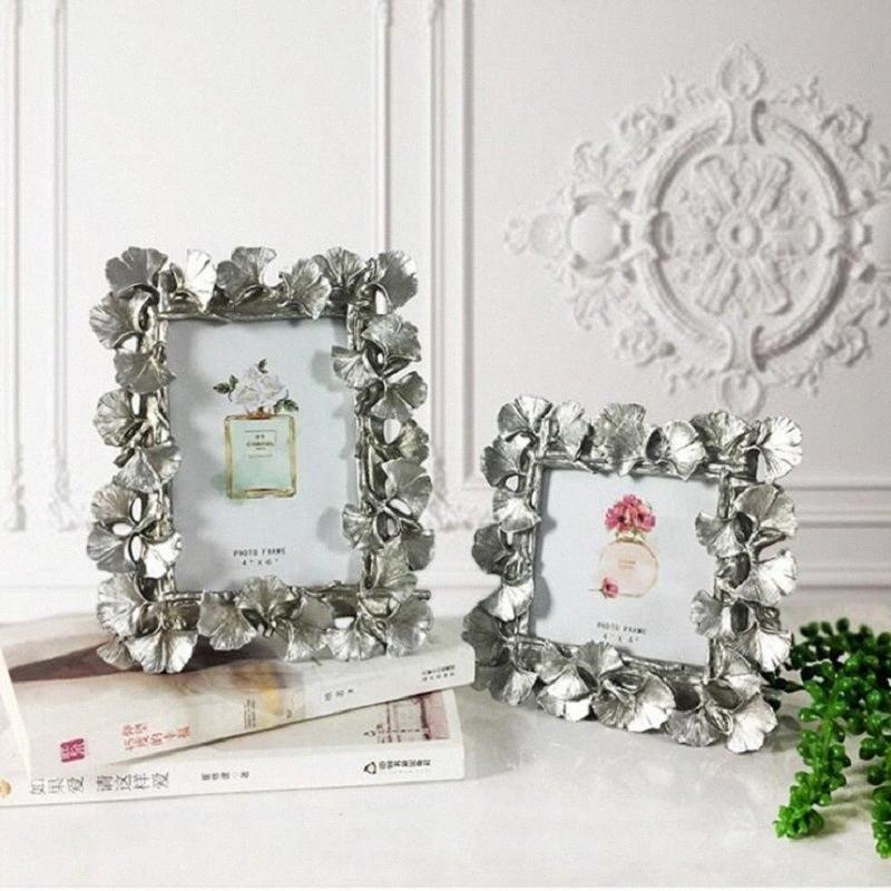 European Golden Vintage Silver Ginkgo Feuille Cadre photo Résine Cadre Couple mariage créatif Image Home Decoration Olfj #