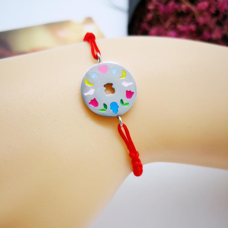 Handmade Bear Weaving Bracelet Titanium Steel Colorful Enamel Love Braided Lucky Rope Adjustable Bracelets Jewelry for Women