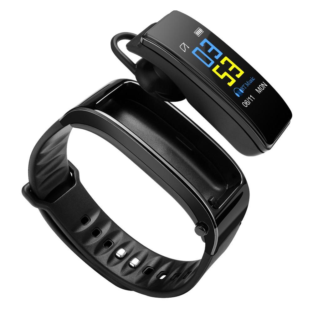 Mosmart Wrist Band 0,96 pollici touch screen a colori 2 in 1 Bluetooth auricolare di Smart bracciale vivavoce smart orologio fitness Cuffia Colore Nero