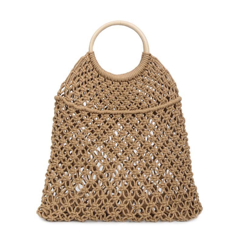 Bolsos de color bolsas de mujer sólido bolsas de mujer de tela tejida de paja bolsa bolsa de bolso de playa salvaje bolso hueco Ocardian bolsas QXNUE