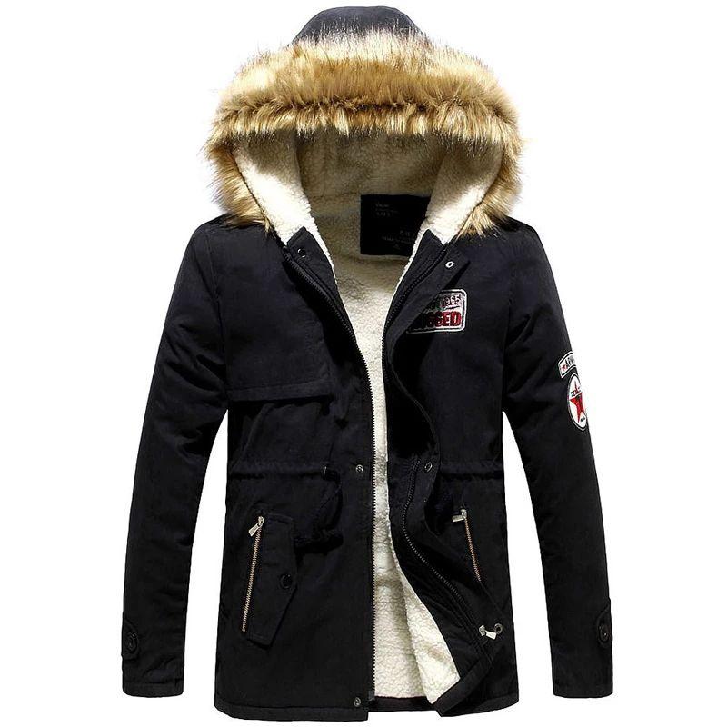 Parka compra invierno hombres gordo delgado piel con capucha hot jas casual sólido fuego superpunner ropa más tamaño s-4xl