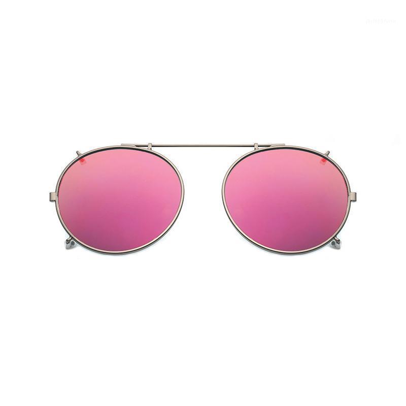 Clip rotondo polarizzato su occhiali da sole Unisex Pink Coating Specchietto da sole Occhiali da sole Guida in metallo ovale Shade Clip su occhiali UV4001