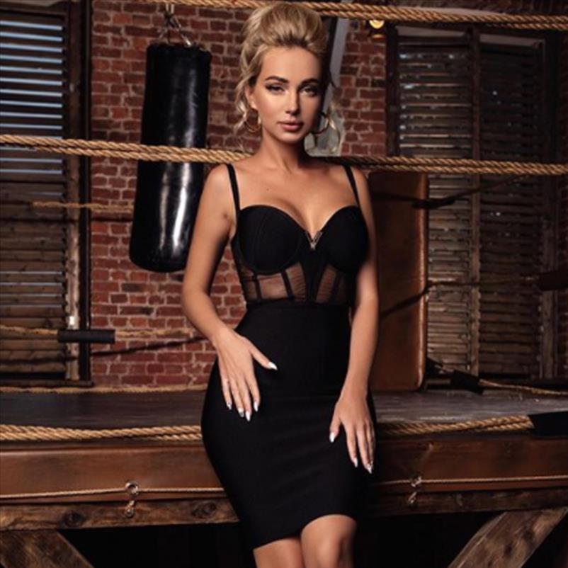 2020 Sommer-Spitze-Verband-Kleid-Frauen Vestidos Sexy Spaghetti-Bügel V-Ausschnitt, figurbetonter Verein-Kleid-elegante Berühmtheits-Partei