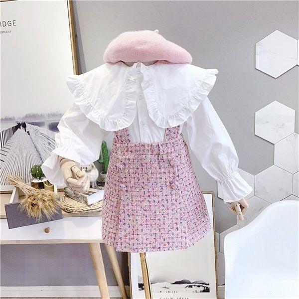 2020 Frühling Herbst Neue Ankunft Mädchen Mode 2 Stück Anzug Top + Plaid Rock Kinder Kleidung Mädchen Set x0923