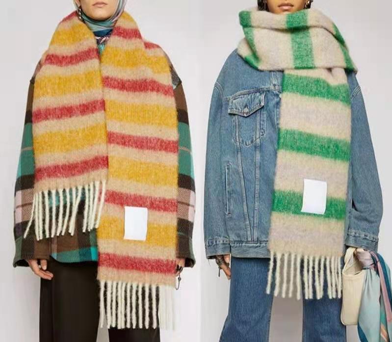 Bufanda de lana Nueva rejilla de arco iris con flecos para masculina y femenina nueva moda gran raya gruesa gruesa marca chales y bufandas para mujeres