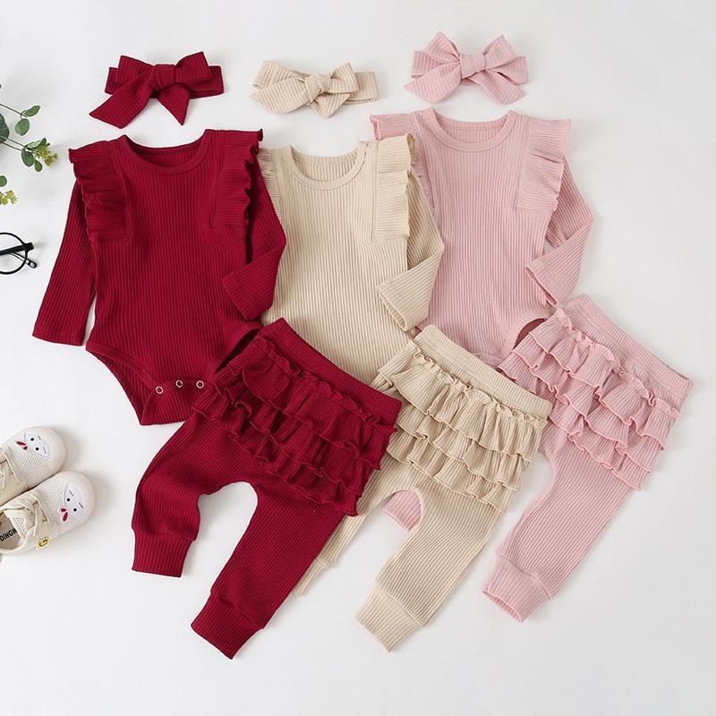 Vestiti del bambino Cute Princess tuta del pagliaccetto balza Solid Pantaloni Hedband Bebe Ragazze manica lunga caduta Abiti Set Q1113