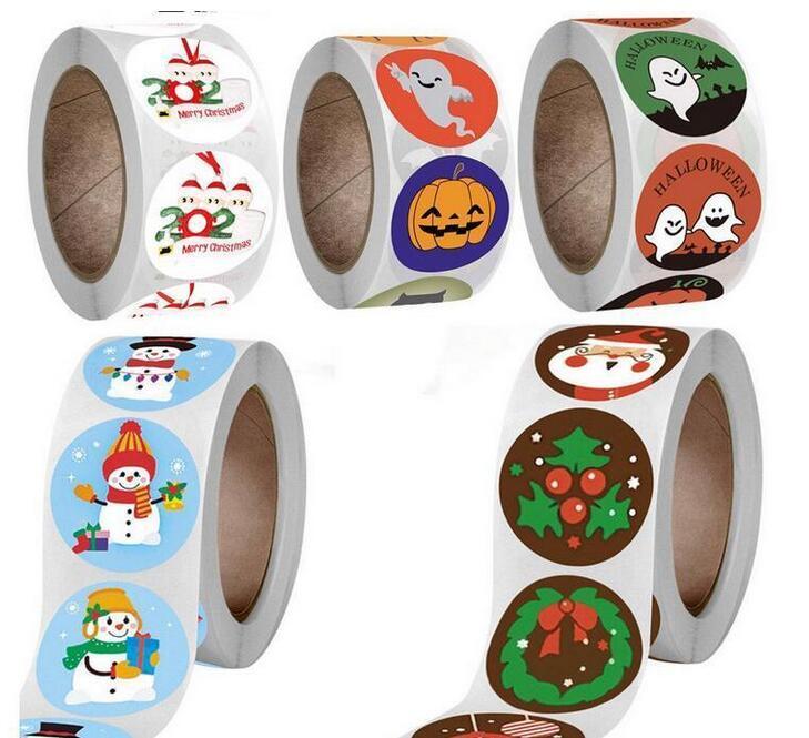 Рождественские бумаги стикер украшения буква наклейки наклейки семьи из 5 орнамент пандемия настенные плакаты для подарочной стены наклейки 500 шт. / Roll DHL