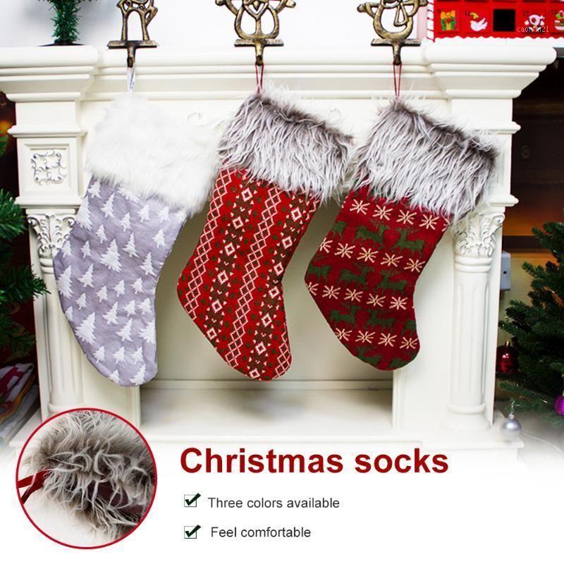 Neues Jahr 2021 Geschenke Tasche Weihnachtsstrumpf Socken Süßigkeiten Geschenk Tasche Baum Hängen Anhänger Dekor Home Navidad Socken Weihnachtsbaum Dekor1