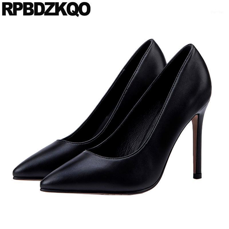 Sapatos de vestido Bombas Vinho Vermelho Trabalho Preto Mulheres Couro Fino Tamanho Grande Extremo Super 10 42 Genuíno 8cm High Saltos 12 44 Ultra Pointed Toe1