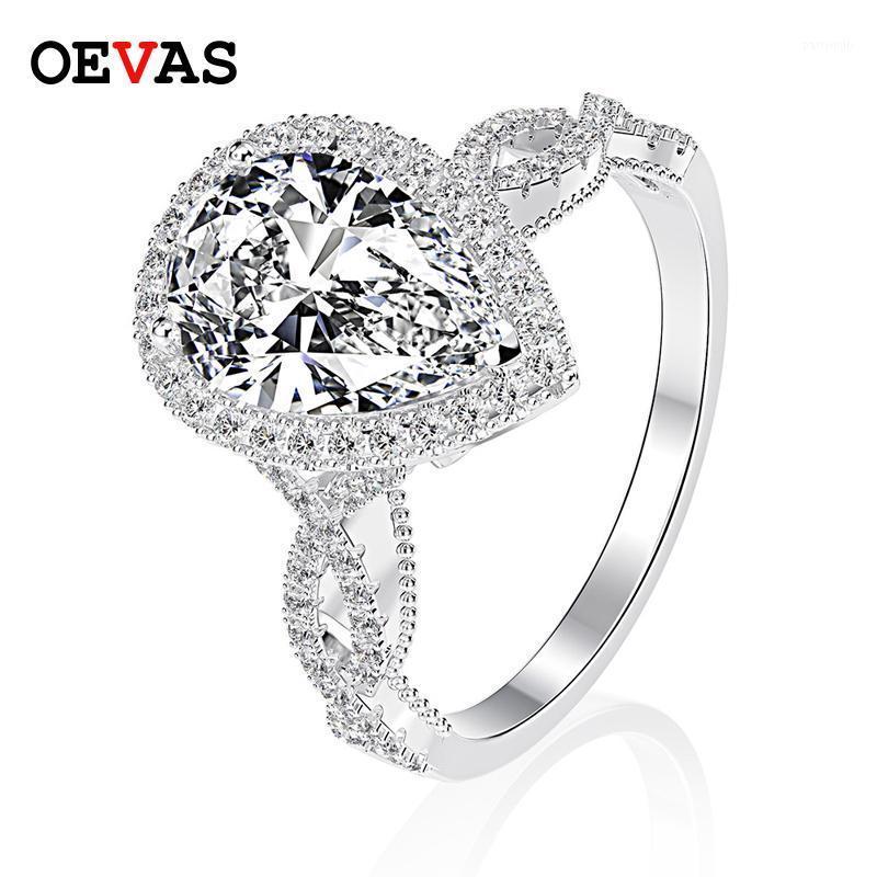 OEVAS Luxury 100% 925 Стерлингового серебра 6 КТ Груша создана Moissanite Gemstone Свадьба Обручальное кольцо Прекрасные Украшения Подарок Оптовая 1