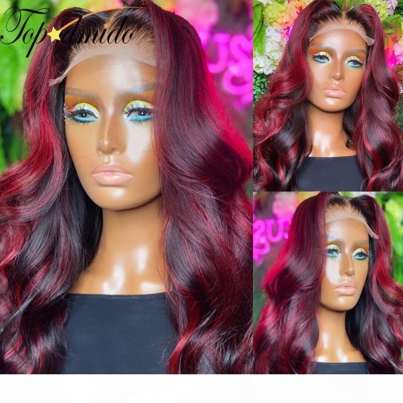 Topodmido escura cor vermelha lace dianteira peruca com cabelo bebê pré estupado onda corporal remy cabelo rendas dianteira perucas humanas