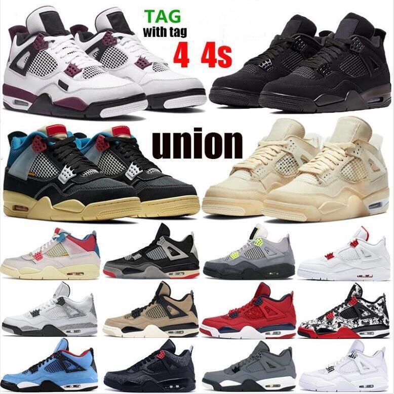 New Jumpman 4 Union Noir Homens 4S Basquetebol Shoes Paris Branco x Vela Criado Rasta Se Neon Cogumelo Winter Denim Jogo Royal Sneakers