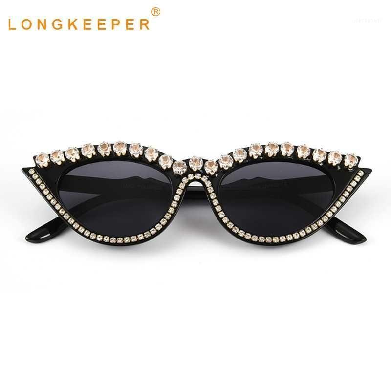 Moda diamante gato ojo gafas de sol mujeres diseñador de cristal marco de cristal gafas de sol damas vintage negro rojo gafas uv400 oculos1