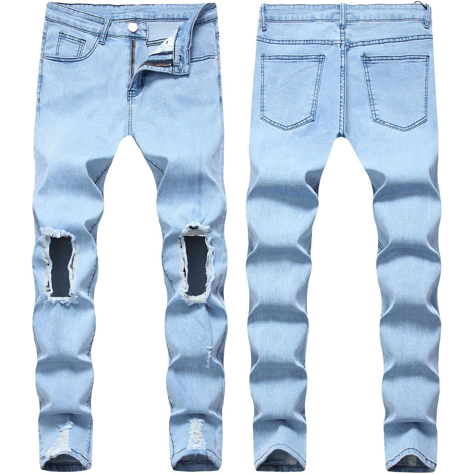 MENS MONDES PERSONNALITÉ TROU JURIS JEANS ANPOSÉ SLIMPLE FIT FIT Pantalon Denim Stretch Denim Mens Super Skinny Pants Nouvelle arrivée