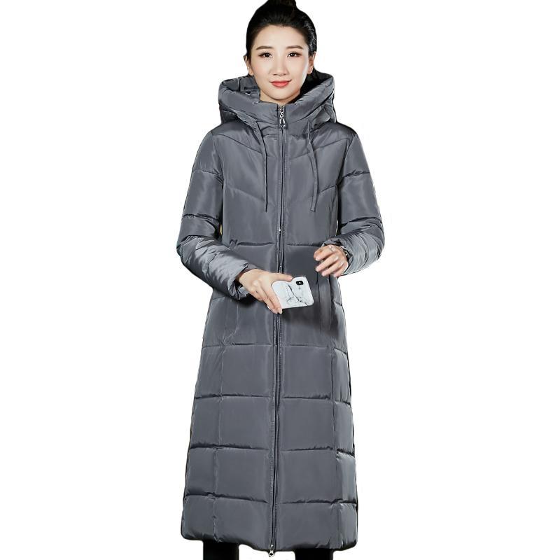 Chaqueta de invierno largo con capucha Mujeres más tamaño tamaño grande algodón acolchado abrigo para mujer Parka parkas Mujer Outwear Warm Camperas LJ201021