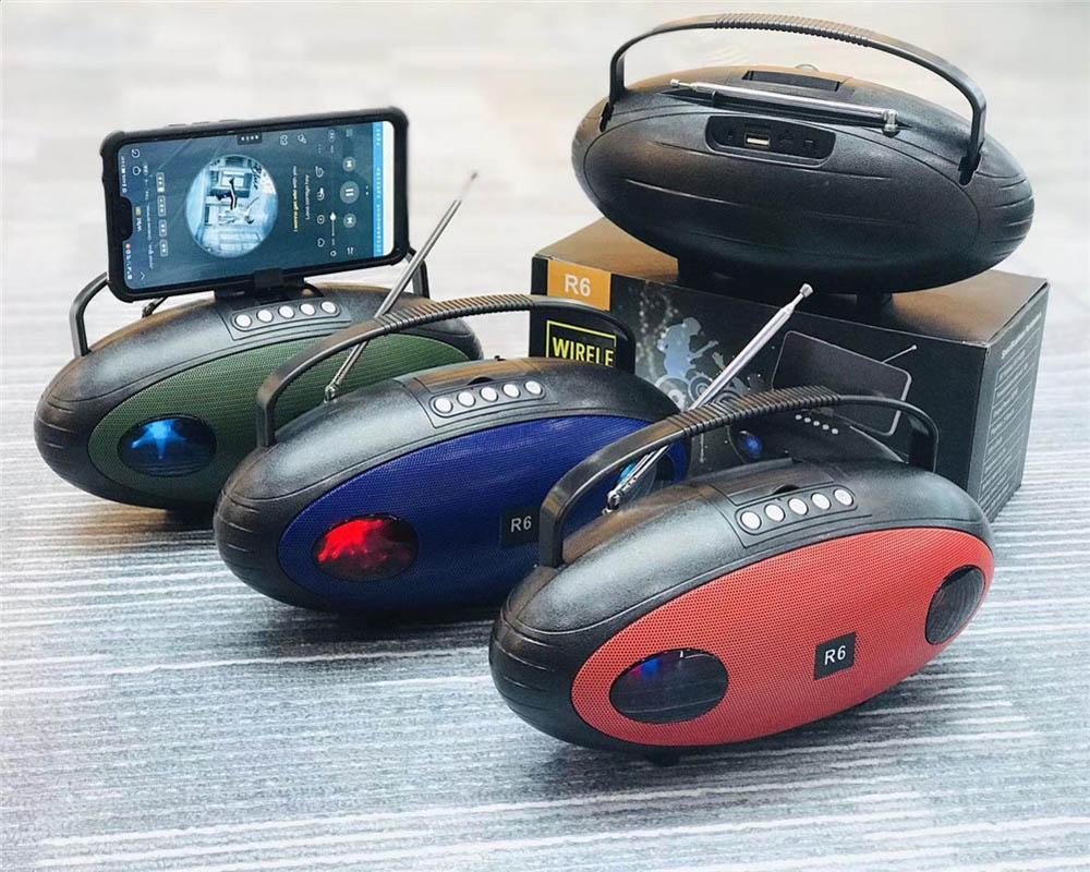 R6 اللاسلكية الزرقاء الأسنان المتكلم المحمولة ستيريو HD 3D مكبرات الصوت المحيطي العشاء باس مضخم العرض راديو tf بطاقة aux اللعب