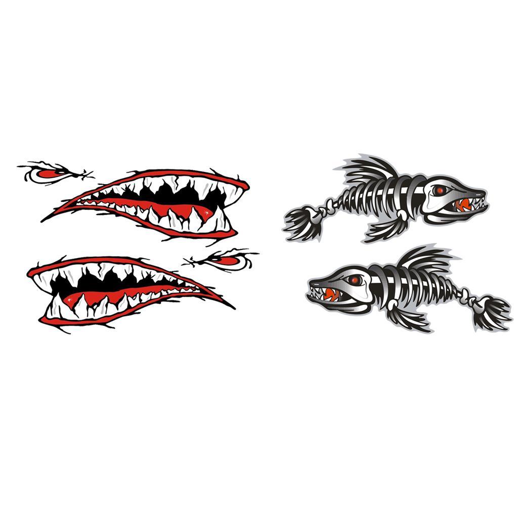 4 Pièces / Set Fish Mouth vinyle Shark os Kayak Dériveur Bateaux de pêche Autocollants voiture pare-chocs Stickers muraux drôles