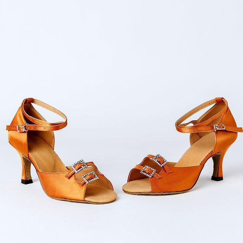New Women Ladies Latin Tango Dance Dancing Shoes Open Toe Satin Latin Dance Rendimiento Tacones Salsa Zapatos para Indoor 201020