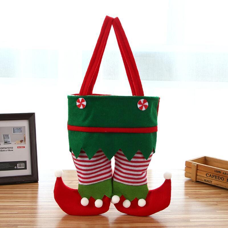Botella de Navidad de Santa de las bragas del caramelo del bolso del bolso del regalo de Navidad Vino Cubierta de Navidad Bolsa de regalo para pantalones Caramelo Bolsas fiesta de Navidad Decoración LX3471
