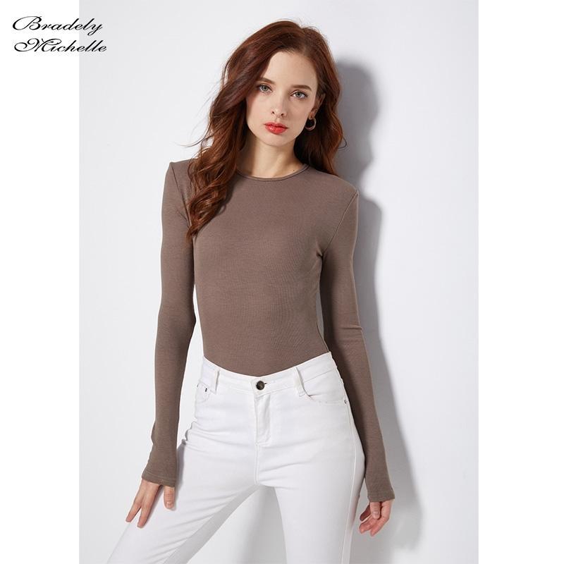 Bradely Michelle Autunno Pure Cotton Sexy Donne Sexy Slim Maniche lunghe O-Collo Top Bodysuits Femminili Pagliaccetti Streetwear Sulsuiti Y200401