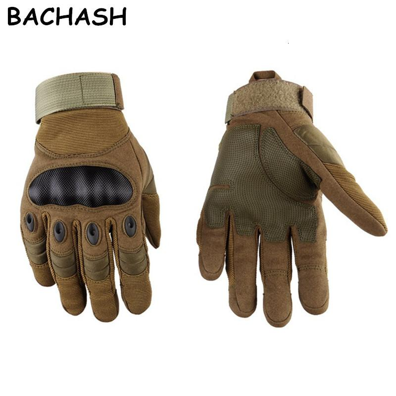 Bachash Tactical Paintball Airsoft Shooting Combattimento Antitiskid Bicycle Hard Knuckle Guanti da uomo Full Binger Gloves