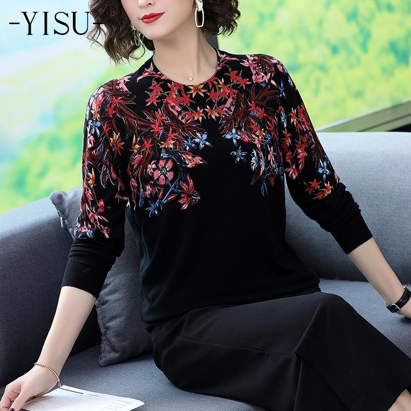 Yisu camisola mulheres O pescoço Moda manga comprida camisola de malha Tops Aves flores impressão soltas Camisolas outono Pullovers 201017