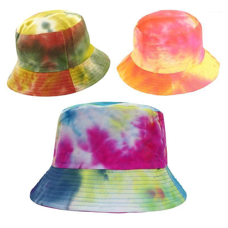 Женщины Мужчины Harajuku Tie-Красивые Контрастные Цветные Ведро Шляпа Реверсивный Пакетный Широкий Breim Солнечья Визуализация Хип-хоп Хлопок Рыбац Cap1