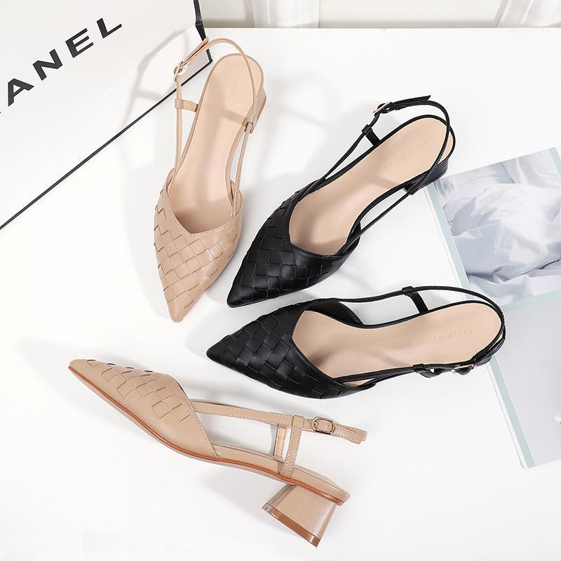 2020 Summer Women Pumps Square High Heel Pointed Toe Slingbacks Sandals Solid Black Beige Office Lady Career Elegant Sexy Shoes1