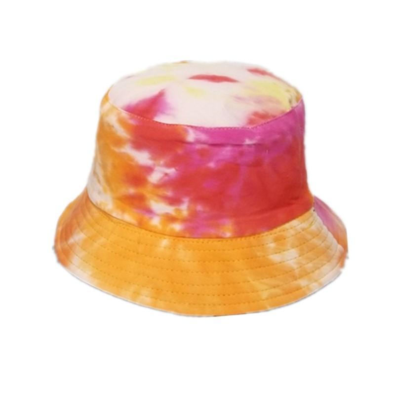 Frühling und Herbst Tie-gefärbt Baumwolle Reversible Bucket Hat mit Doodling Muster Flache Folding Painted Damencap Tragbarer Bonnet