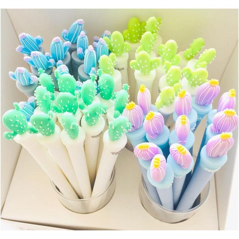Caneta bonito do cacto Kawaii canetas neutras 0.5mm Creative Potted Plant Gel Pens para Crianças Meninas Presentes Escola Escola Jllyth Lajiayard