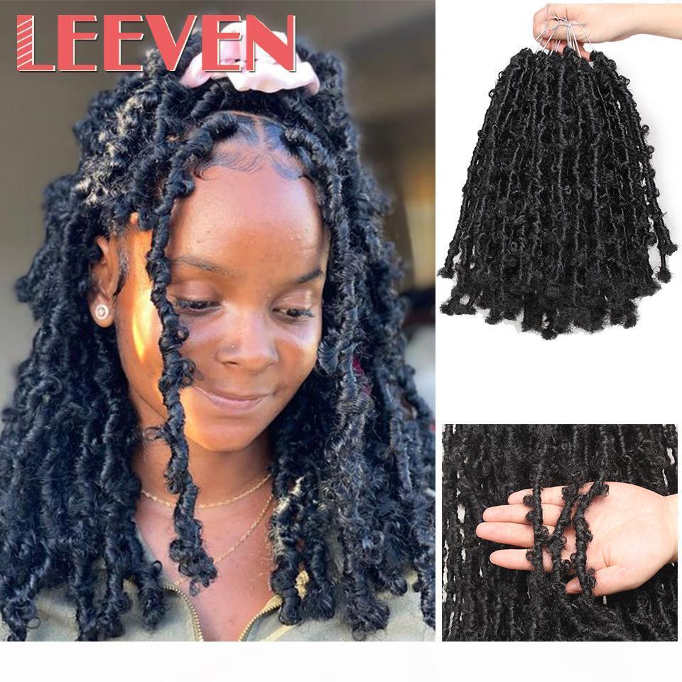 Leeven 12inch 24Inch 24inch papillon des papillons en détresse Crochet cheveux Bobfly Bob Faux Locs Crochet Braids Cheveux Black Soft Soft Locs Q1127