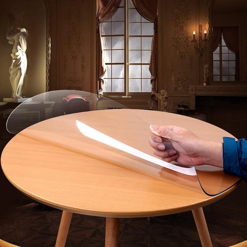 Пластиковая круглая скатерть прозрачный водонепроницаемый ПВХ скатерть для столовой кухня обеденный стол крышка силикона круглая ткань