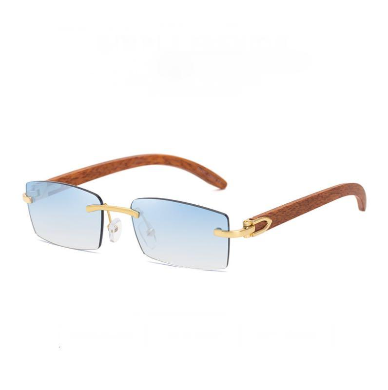Rimless Square Sunglasses Woodgrain Temples Men Retro Small Trimming Sun Glasses 6 Colors Plastic Legs Wholesale