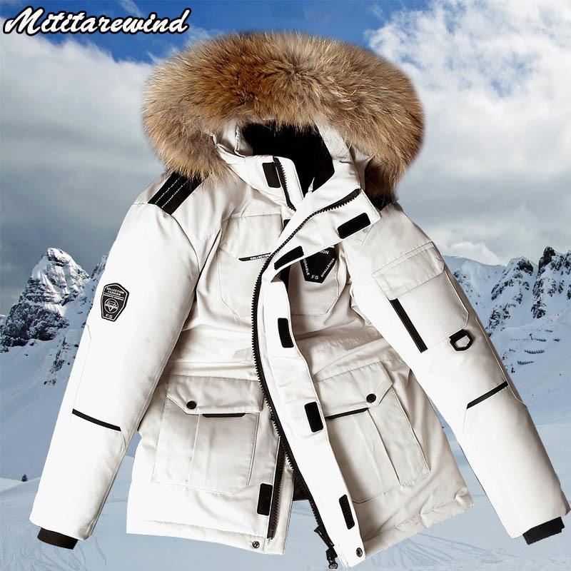 -30 Degree Winter Jacket Men White Duck Parkas Mid-length Large Fur Collar Down Thicken Coat Snow Overcoat M-3XL