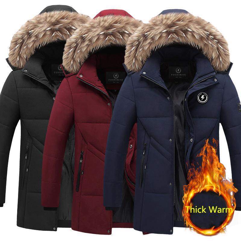 SitaInicy 2020 Hombres Ropa Cuello de piel sintética Chaquetas de Hombre Otoño Invierno Cremallera Recubrimiento Abrigo de la chaqueta para el hombre A prueba de agua Parka Outwear