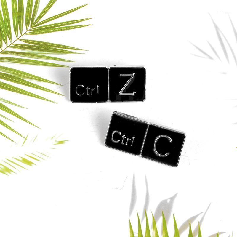 Ctrl C / Ctrl Z Keyboard Brooches Black Copy Return Shortcut Enamel pins Badges Backpack Clothes Lapel Pin Jewelry Gift1