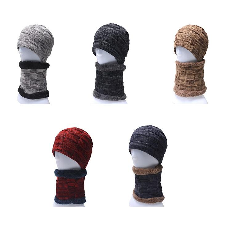 2020 Winter cap bib suit with velvet and thickened wool cap for men's knit cap for autumn and winter