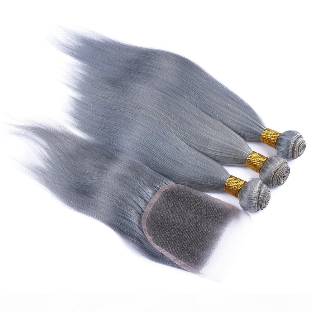 9a Малайзийские серебристые серые человеческие волосы с закрытием 4шт Лот Малайзийские волосы девственницы Шелковистые Прямые 3 фундамента с 1 шт.