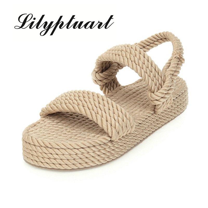 Lilyptuart 2020 Big Size 43 sulla vendita superiore Gladiator Canapa piatto Slip On delle donne della paglia di estate dei sandali scarpe da donna