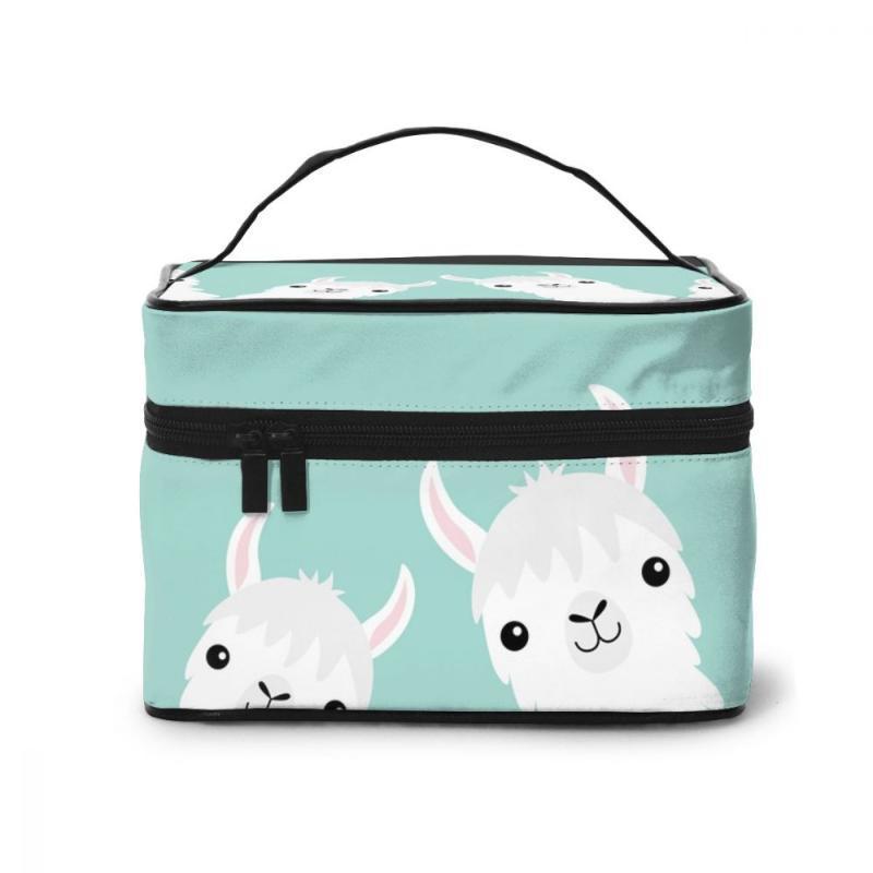 Yüksek kapasiteli makyaj çantası seyahat kozmetik çantası iki sevimli çizgi film llama alpaka güzellik
