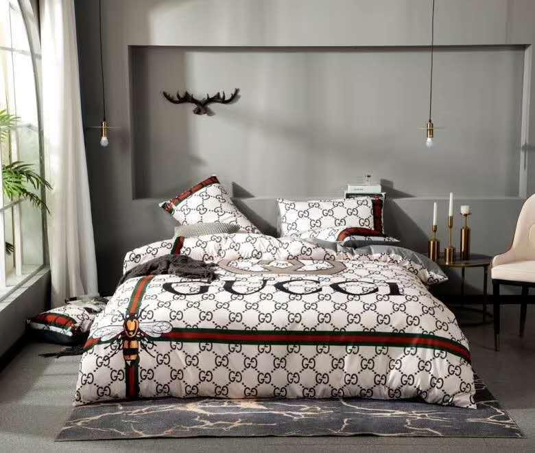 Ensembles de literie en coton de marque King size Strip de fleur de fleur de la bande imprimée Couvertures de couverture Vente Coussin d'oreiller Literie Couverture de couette