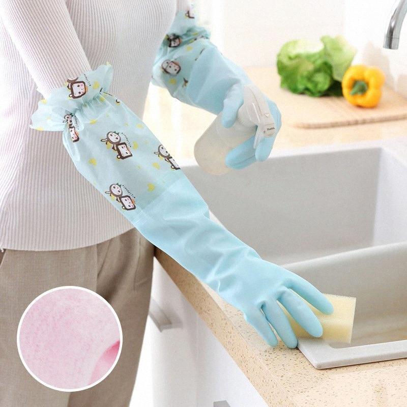 Прочный резиновый Dishs помыться перчатки Бытовая Водонепроницаемые Plus Velvet Длинные рукава Очистка перчатки Кухня Anti-масло Пластиковые T5DN #