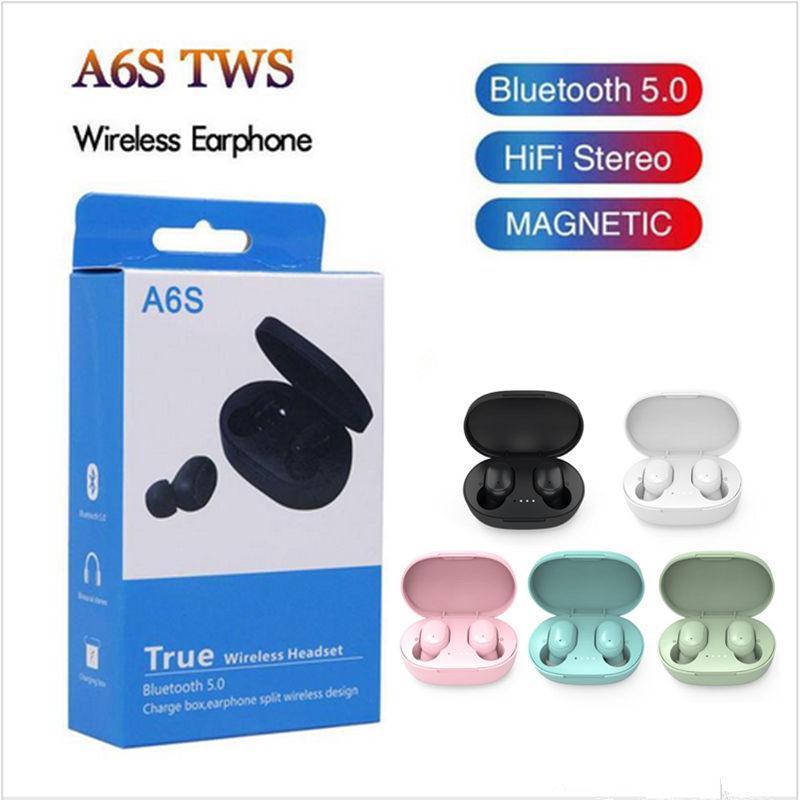 A6S Ecouteurs sans fil Sports Écouteurs Sports Bluetooth 5.0 TWS Headsets Bason Annulation du micro pour Huawei Samsung Tws Headphones
