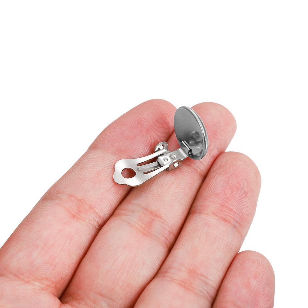 10 pcs 8 10 12 14mm de aço inoxidável redondo plana orelha plana Base Cabochon Bezel Bandeja Brincos Clips para DIY Jewelry Makings H Bbyzkb