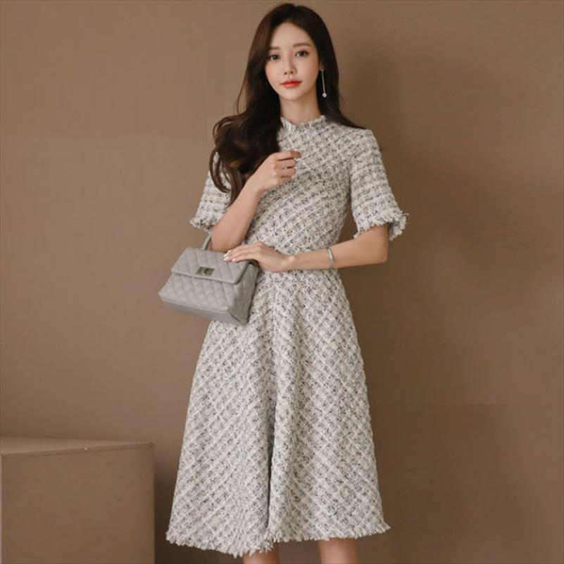Мода женщины нового прибытие толстых теплая вечернее платье вскользь тонкая комфортно темперамент тенденция сладкая марочная партии линии платье