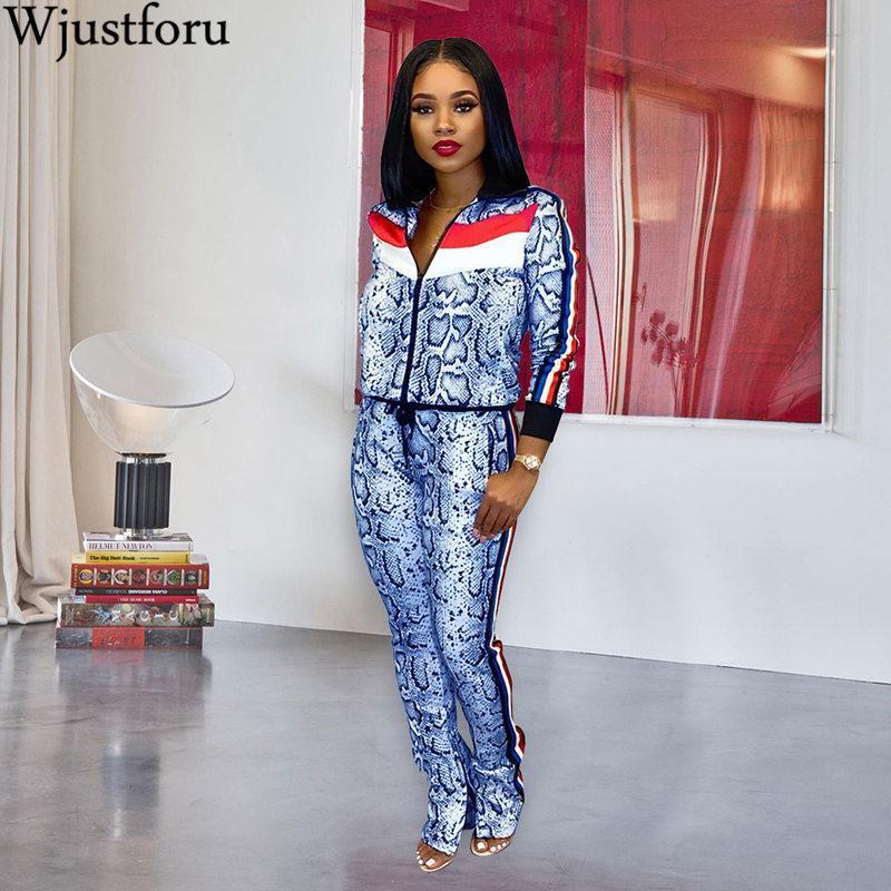 Wjustforu alta moda roupas casuais imprimir manga longa pescoço fechar zip sobretudo e calças magras esporte mulheres 2 peça slim 201199
