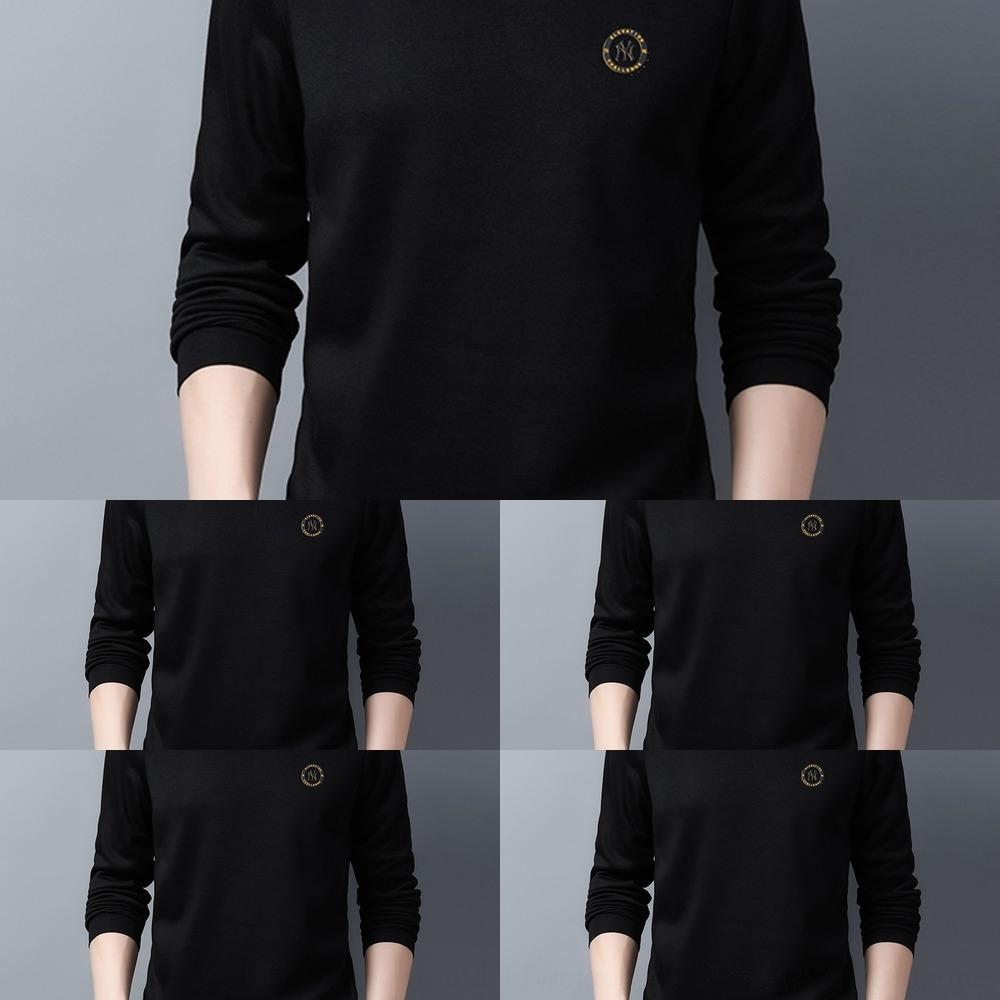 4M4ya moda e e la nuova T-shirt a maniche lunghe giovane uomo Autunno Inverno girocollo colore solido maglietta sweatersweater mezza età maglione 20