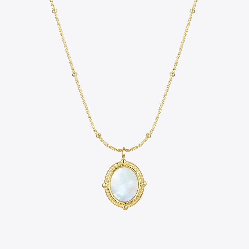Enfashion Shell Shell Circle Collana Donna Gold Color Light Pendant Collana 2020 Acciaio inossidabile Choker Fashion Jewelry Collar P3127 Y0124